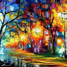 Leonid Afremov - Mystical Alley - PALETTE KNIFE Oil Painting On Canvas By Leonid Afremov