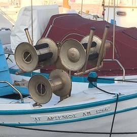 Colette V Hera  Guggenheim  - Naoussa boat Paros Island Greece