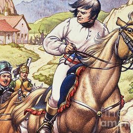 Napoleon making a narrow escape with an Austrian cavalry patrol close on his heels - Pat Nicolle
