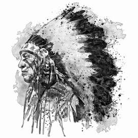Native American Chief Side Face Black and White - Marian Voicu