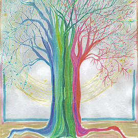 First Star Art  - Neon Rainbow Tree by jrr