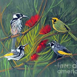 Audrey Russill - New Holland Honeyeaters with a Yellow Tufted Honeyeater