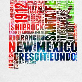 New Mexico Watercolor Word Map - Naxart Studio