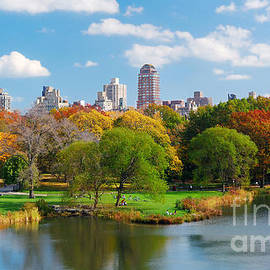 New York City Central Park panorama view in Autumn with Manhattan skyscrapers and colorful trees ove - Songquan Deng