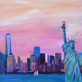 M Bleichner - New York City - Manhattan Skyline with Downtown World Trade Center One and Statue of Liberty