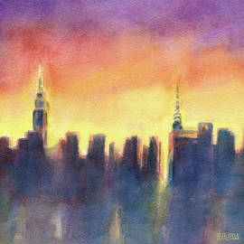 New York Sunset After the Rain - Beverly Brown Prints