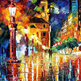 Leonid Afremov - Night City Lights - PALETTE KNIFE Oil Painting On Canvas By Leonid Afremov