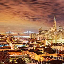 Silvio Ligutti - Night Panorama of San Francisco and Oak Area Bridge from Ina Coolbrith Park - California