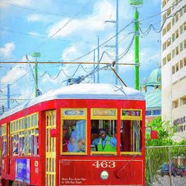 Kathleen K Parker - NOLA Red Streetcar Riverfront - Art