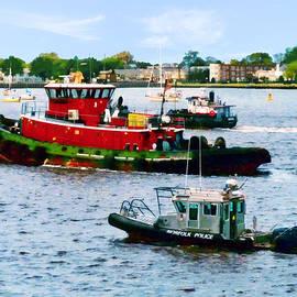 Susan Savad - Norfolk VA - Police Boat and Two Tugboats