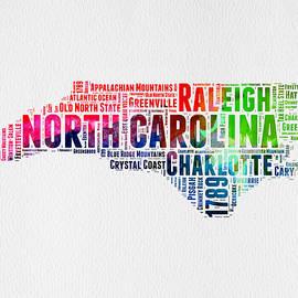 North Carolina Watercolor Word Cloud Map - Naxart Studio