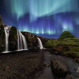 Northern Lights at Kirkjufellsfoss Waterfalls Iceland - Larry Marshall