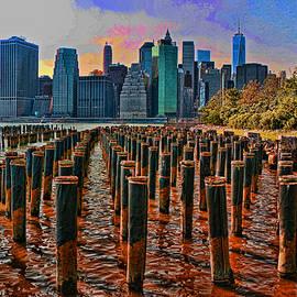 Allen Beatty - N Y C Financial District As Seen from Brooklyn Bridge Park