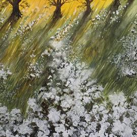 David K Myers - Oak Tree Sunset, Gouache Painting