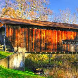 Michael Mazaika - Ohio Country Roads - Benetka Road Covered Bridge Over the Ashtabula River - Ashtabula County