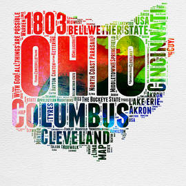 Ohio Watercolor Word Cloud Map  - Naxart Studio