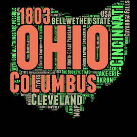 Ohio Word Cloud Map 1 - Naxart Studio