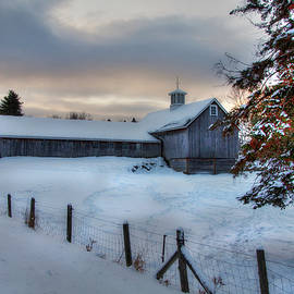 Joann Vitali - Old Barn in Snow at Sunrise