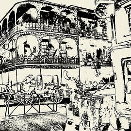 Peter Fine Art Gallery  - Paintings Photos Digital Art - Old French Quarter New Orleans - Ink Drawing