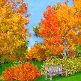 Bruce Nutting - Old Park Bench in Autumn