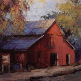R W Goetting - Old red barn in the shadows