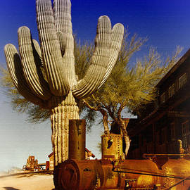 Teresa Zieba - Old Steam Tractor and Saguaro Cactus