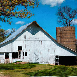 Anna Louise - Old White Barn With Treed Silo
