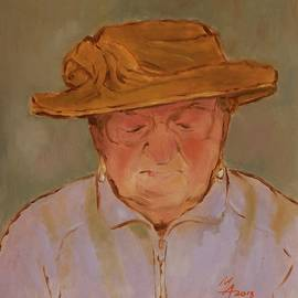 Attila Meszlenyi - Old Woman with Yellow Hat