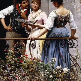 On the Balcony  - Eugen von Blaas