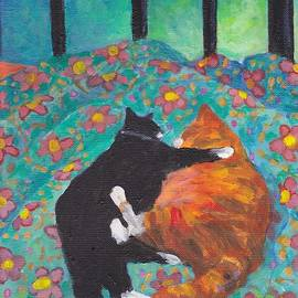 Peggy Johnson - Orange and Black Cats - Siesta on Teal