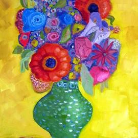 Ben Merlaux - Orange Sunflowers in a Green Vase
