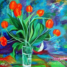 Caroline Street - Orange Tulips in Recess