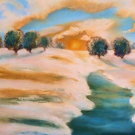 Valerie Anne Kelly - Oranges in the snow-Landscape Painting by V.Kelly