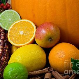 R Muirhead Art - Oranges Limes Corn Pumpkin Apple