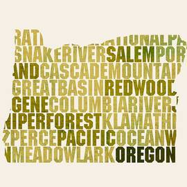 Oregon State Outline Word Map - Design Turnpike