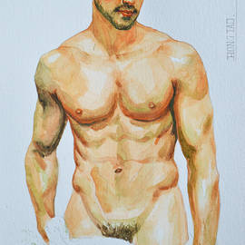 Hongtao     Huang - Original Watercolor Painting  Drawing Male Nude Gay Interest Man On Paper #7-1-9