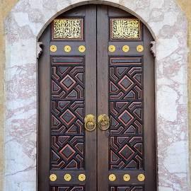 Imran Ahmed - Ornately decorated wood and brass inlay door of Sarajevo mosque Bosnia Hercegovina