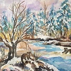 Ellen Levinson - Otters in Winter Woods