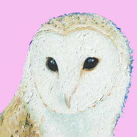 Jan Matson - Owl painting on pink background
