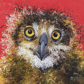 Jan Matson - Owl painting on red background