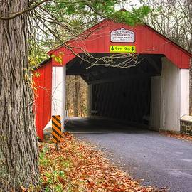 Michael Mazaika - Pa Country Roads - Cabin Run Covered Bridge Over Cabin Run Creek No. 3A - Autumn Bucks County