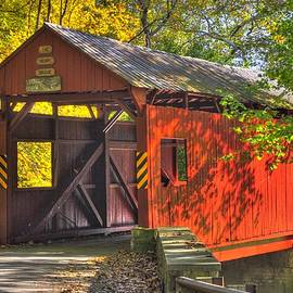 Michael Mazaika - PA Country Roads - Henry Covered Bridge Over Mingo Creek No. 3A - Autumn Washington County