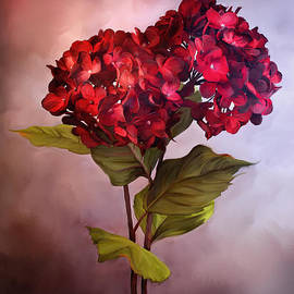 Stephanie Frey - Painted Red Hydrangeas