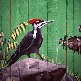Bill Swartwout - Painted Woodpecker on a Baltimore Zoo Fence