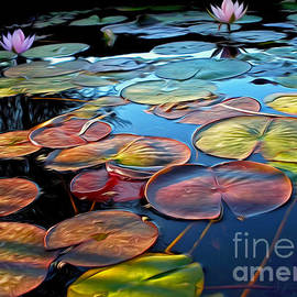 Kaye Menner - Painterly Lily Pads at Sunset by Kaye Menner