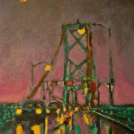 John Malone - Painting of Traffic on Wet Bridge Deck at Night