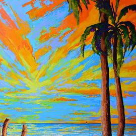 Patricia Awapara - Florida Palm Trees, Tropical Beach, Colorful Sunset Painting
