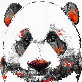 Sharon Cummings - Panda Bear Art - Black White Red - By Sharon Cummings