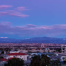 Silvio Ligutti - Panorama of Espanola Valley with Sangre de Cristo Mountains during Twilight - Northern New Mexico