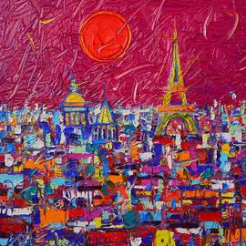 Ana Maria Edulescu - Paris Full Moon Abstract Cityscape Impasto Modern Impressionist Palette Knife Oil Ana Maria Edulescu